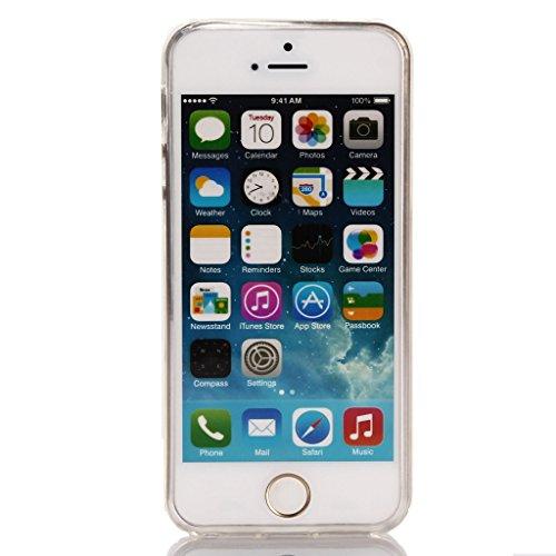 IJIA Ultrafino Transparente Escalera Nubes TPU Silicona Suave Funda Carcasa Tapa Caso Parachoques Cubierta para Apple iPhone 6 / 6S + 24K Etiqueta Engomada color-WM18