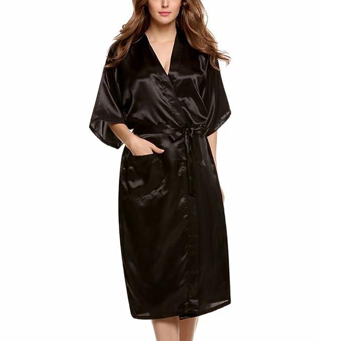 a147d14c8b6d5 Amurleopard Women's Kimono Robe Bridal Lingerie Sleepwear Long Satin Robe  Black S