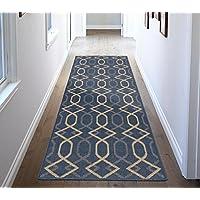 Ottomanson Jardin Collection Natural Diamond Trellis Design Indoor/Outdoor Jute Backing Runner Rv Patio Mat Rug, Blue, 27 x 70