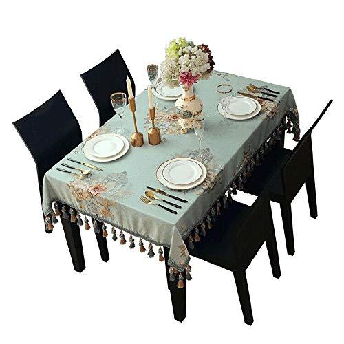 FeiGuoQiang Mantel Decoracion para el hogar Mesa de cafe Pano de mesa Rectangular Escritorio para el hogar Mantel Literario Largo Pano de mesa Hotel West Mesa de comedor azul claro Mantel multifuncion