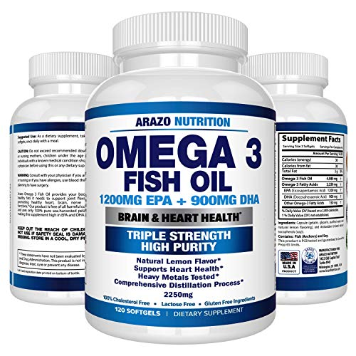 Omega 3 Fish Oil 2250Mg   High Epa 1200Mg   Dha 900Mg Triple Strength Burpless Capsules   120 Pills   Arazo Nutrition