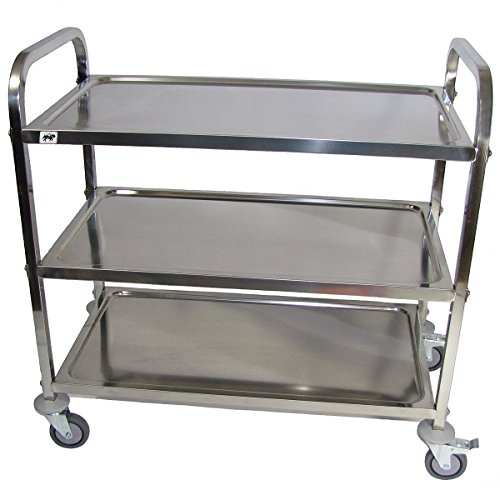 Crayata SSC3LG Large Rolling Stainless Steel Utility Cart, Heavy Duty Food Service and Bus Cart, 3 Shelf, 4 Inch Wheels