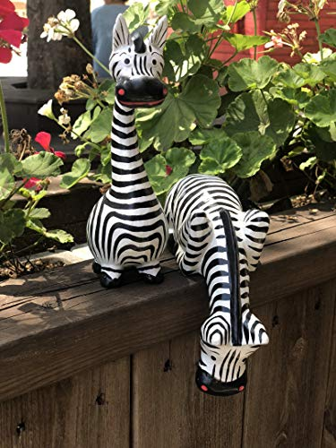 Bongjas Dream Handmade Comic Wooden Zebra 2pcs Set (Home Zebra Decor Statue)