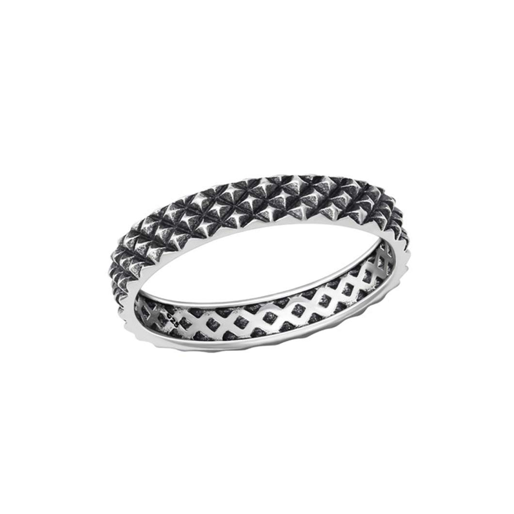 Liara Polished Nickel Free Patterned Plain Rings 925 Sterling Silver