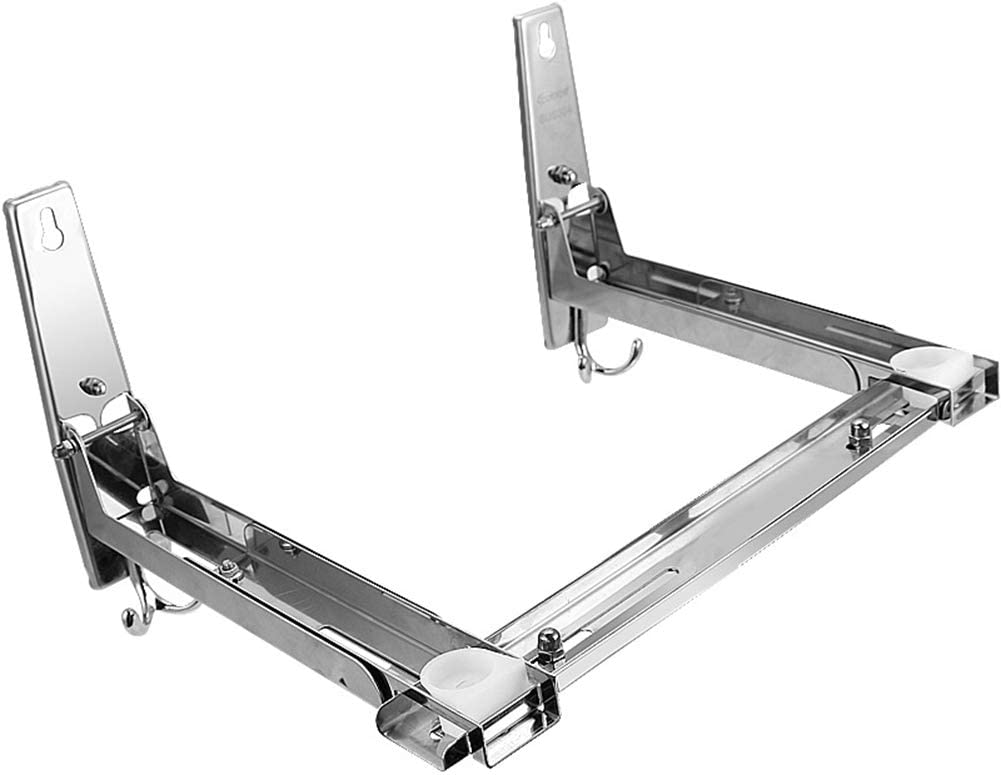 Homwel 304 Slide Groove Stainless Steel Microwave Mount Bracket,Stent Load 135lb,All Around on All Sides Telescopic Microwave Oven Wall Frame Removable Hook