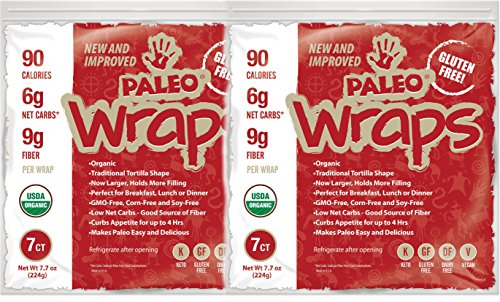 Julian Bakery Paleo Wraps (Traditional) USDA Organic (Gluten Free & Low Carb) (2 Pack) (14 Individual Wraps) - Wrap Tortilla