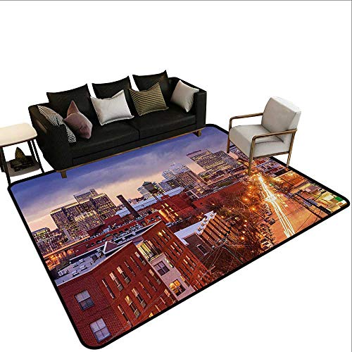 Runner Rugs United States,Richmond Virginia Highway Office Buildings Downtown at Dusk Urban Lifestyle,Multicolor,for Living Room Bedrooms Kids Nursery Home Decor 3'x 4' (Ikea Rugs Richmond)