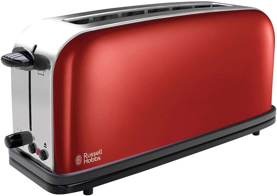Russell Hobbs Colours Plus - Tostadora (Ranura Larga y Ancha, para 2 Rebanadas, Acero Inoxidable, Rojo) ref. 21391-56