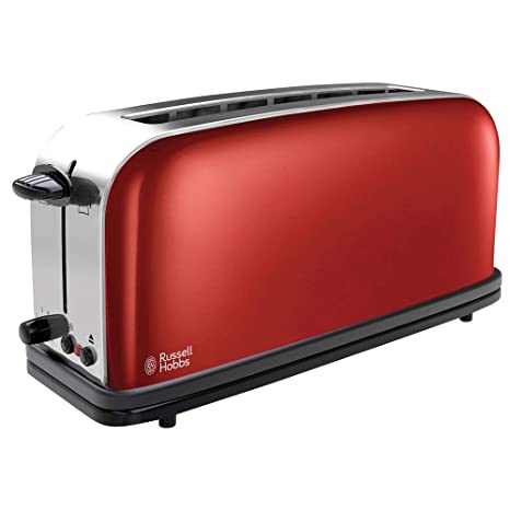 Russell Hobbs Tostadora, Ranura Larga, Color Gris, 1000 W, Acero Inoxidable, 2, Rojo (Flame Red)
