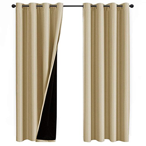 NICETOWN Thermal Insulated 100% Blackout Curtains, Multi-Function Noise Reducing Performance Drapes Black Lining, Full Light Blocking Drapery Panels Patio (Cream Beige, 1 Pair, 52