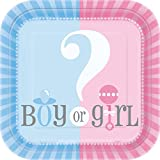 Unique Industries, Gender Reveal,  Square Dessert Plates - 10 Pieces