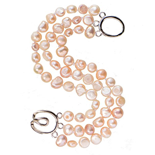 7-8mm Pink Baroque Nugget Three Layers Freshwater Pearl Bracelet Silver Tone Toggle 8