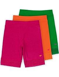 Jada Little Girls Bike Shorts, Tagless, Soft Cotton, Lace Trim, Underwear, 3 Pack