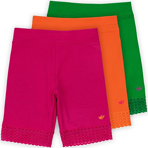 Happy Girl (Lucky & Me Jada Little Girls Bike Shorts, Tagless, Soft Cotton, Lace Trim, Underwear, Happy 3 Pack, 7/8)