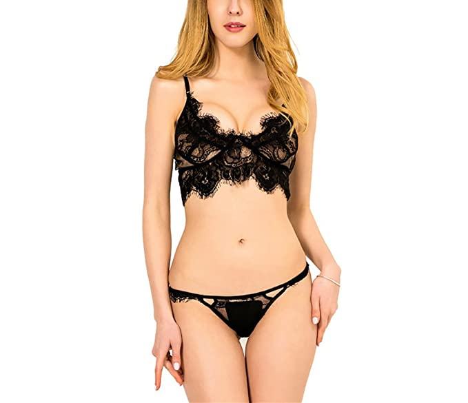 YAXIUFEN Women Lingerie Set Fringe Lace Bra Straps Floral Tassels Underwear  Set Nightwear Medium (Black 659aed4fe