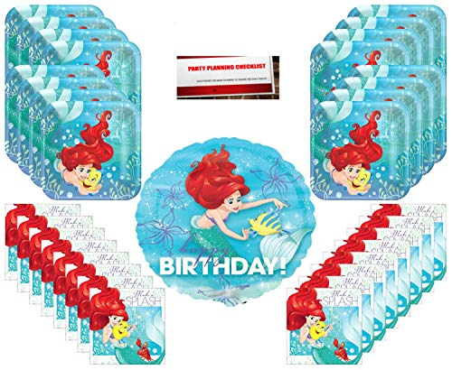 Ariel Disney Princess Party Supplies Bundle Pack for 16 (17 Inch Balloon Plus Party Planning Checklist by Mikes Super Store) -