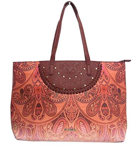 Desigual - Bols_winter Valkyria_redmond, Shoppers y bolsos de hombro Mujer, Marrón (Leather Brown), 13x29x38 cm (B x H T)