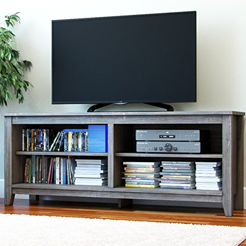 "(Ryan Rove Mission 58"" Modern Wood Storage TV Stand Console Entertainment Center in Ash Grey)"