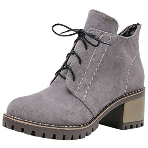 TAOFFEN Women Classic Lace Up Herbst-Winter Mid Heel Martin Boots Grey