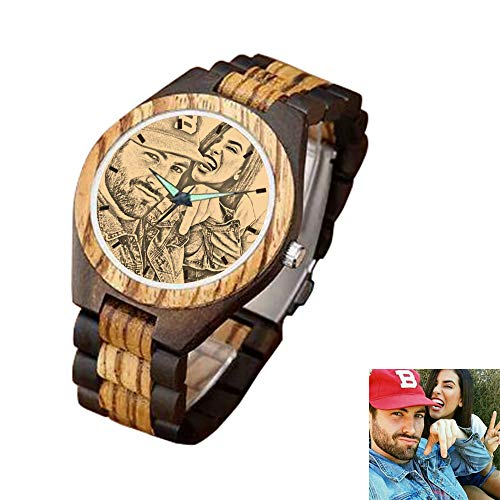 (Personalized Customized Wooden Watch for Men Photo Print On Watch Face and Box Engraving for Personalized Gift)