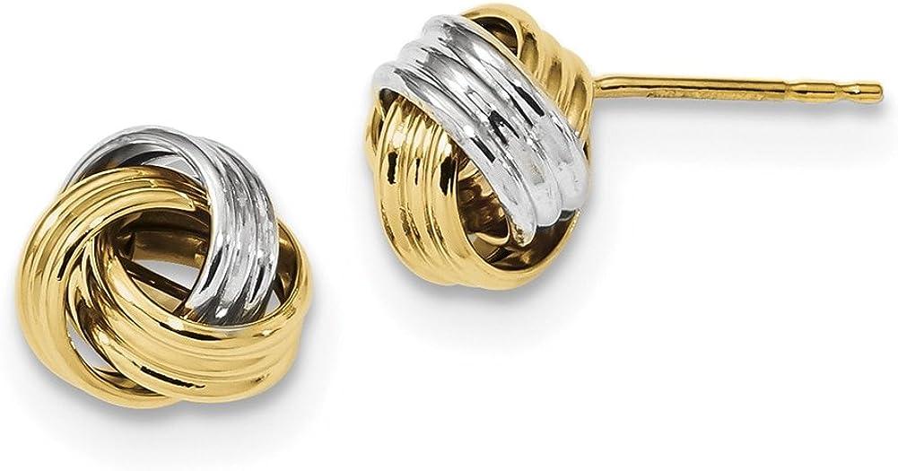 Lex /& Lu 14k Two-tone Gold Polished Love Knot Post Earrings LAL119164