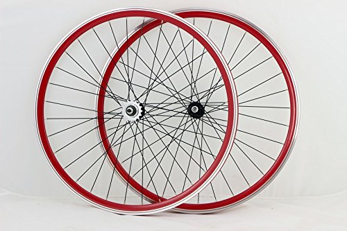 Zerolite Vuelta Track Comp NO Decals 700c Fixie Fixed Gear Single Speed Bike Wheel Set (Red) ()