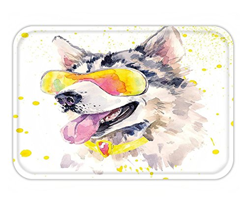 Minicoso Doormat Animal Funny Husky Dog with Sunglasses Humorous Cute Watercolor Cool Puppy Picture Yellow Grey - With Dogs Pictures Sunglasses