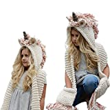 Girls Hoodie Hat Scarf, SevenPanda Unicorn Tassel Wool Winter Fall Knitted Shawl Hats Cap Hooded Cloak Caps Coif Hooded Scarves Ear Neck Warmer Beanies Cap Hat Beanies Party Cosplay Gifts for 3-12 Year Old Children Girls - Pink Unicorn