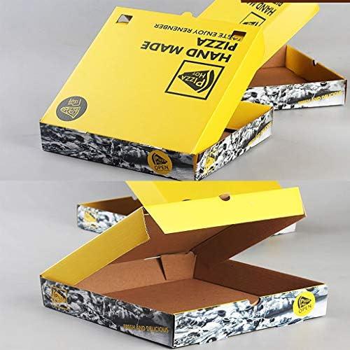 FGSJEJ Plegada Caja de Pizza Amarillo, Caja de Embalaje for Llevar ...