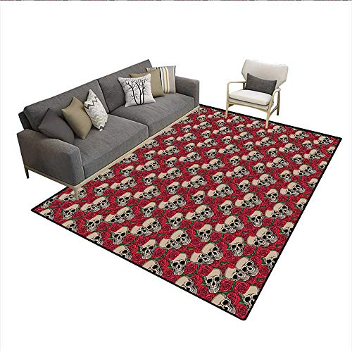 Carpet,Graphic Skulls and Red Rose Blossoms Halloween Inspired Retro Gothic Pattern,Indoor Outdoor Rug,Vermilion Tan Green 6'x8']()