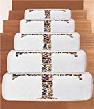 Non-Slip Carpets Stair Treads,Letter T,Animal Themed Alphabet Font Pattern Butterflies in Fall Color Scheme Design Print Decorative,Multicolor,(Set of 5) 8.6''x27.5''
