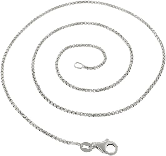 Solid 1.5mm Italian Venetian Box Chain Necklace Real 925 Sterling Silver