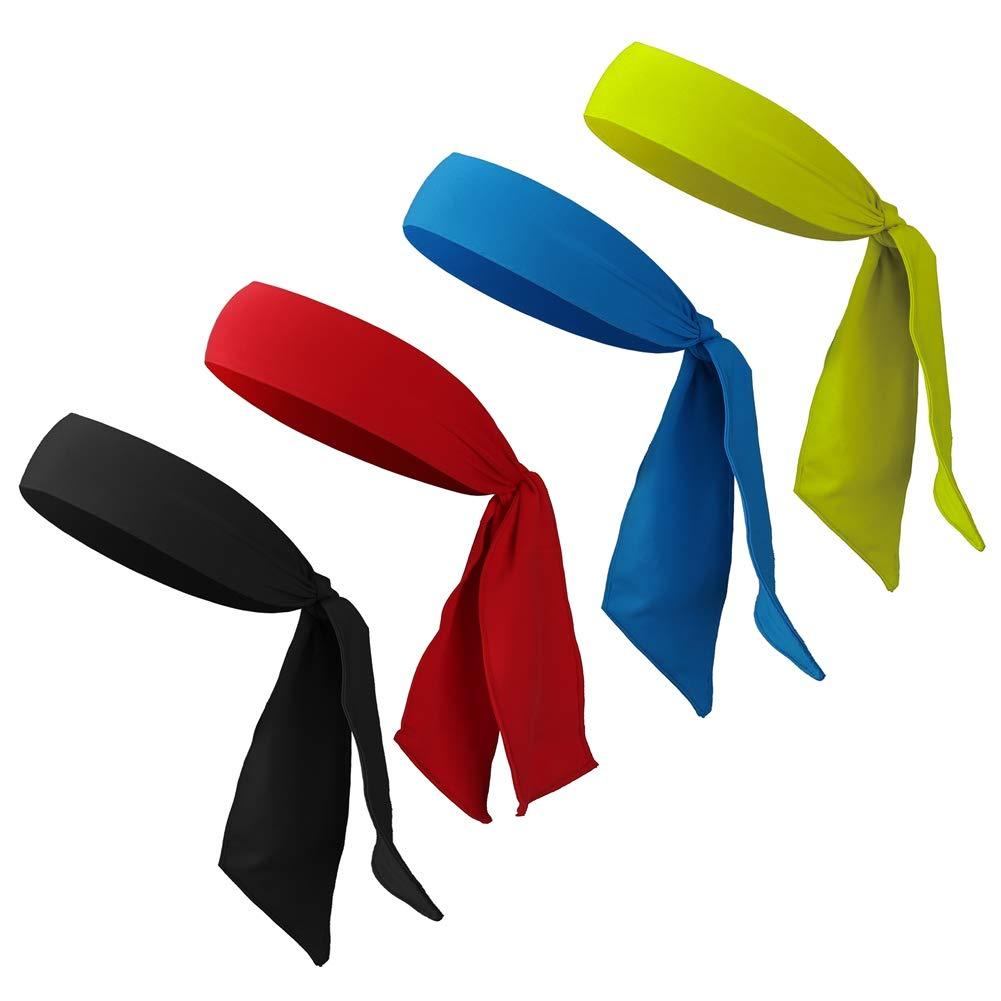 FANTESI 4 pièces Sweatband Cravates, Sport Femme Bandeau Antidérapant Anti pour Courir, Travailler, Tennis, karaté, Volley-Ball & Performance Wicking Extensible et Humide