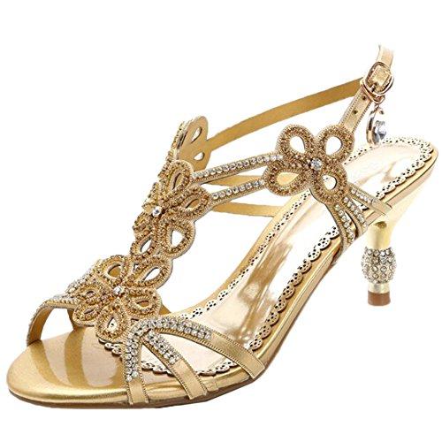 HooH Mujer Sandalias Peep Toe Hollow Out Bling Rhinestones talón abierto Kitten Sandalias Gold