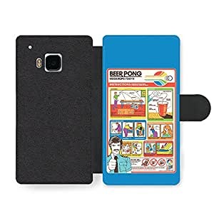 Funny Cute Beer Pong Flight Card Parody Infographic Faux Leather case for HTC One M9