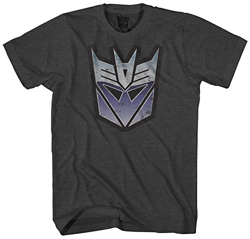 Transformers Men's Stressed Decepticon Short Sleeve T-Shirt, Charcoal Heather, Large