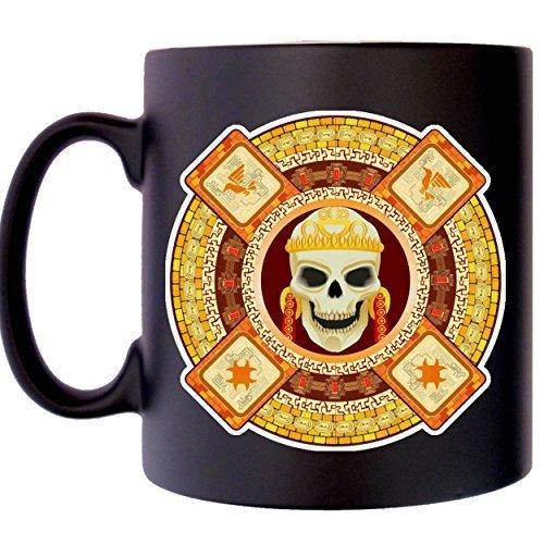 Azteca Máscara mexicano Muerte Dios de la calavera Aztecs Taza de raso negro impreso imagen cartera