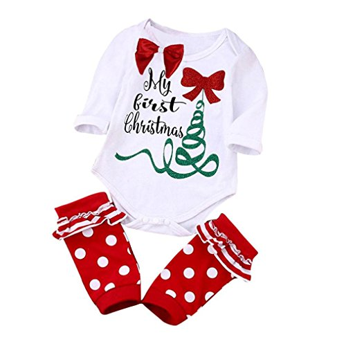 [AMA(TM) Newborn Baby Boy Girl Christmas Set Romper Jumpsuit Bodysuit + Leg Warm (9M, White)] (Sexy Halloween Dress Up)