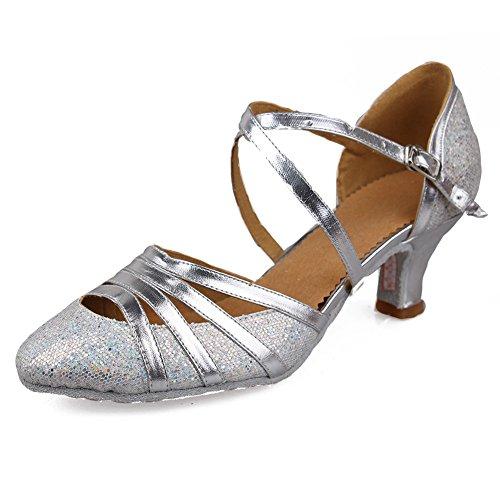HROYL Damen Tanzschuhe/Latin Dance Schuhe Glattleder Ballsaal Modell-D5-511 Silber