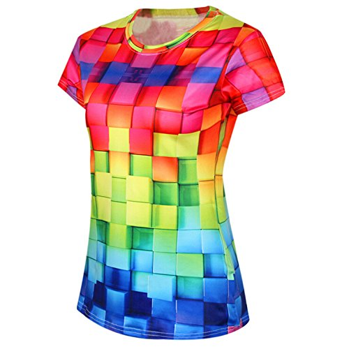 cytprimedesign Women's Abstract Pattern 3D Digital Print T-Shirt Top Tee (A)