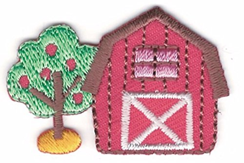 Iron On Embroidered Patch Top Quality Country Red Barn Farm with Apple Tree 1 1/8