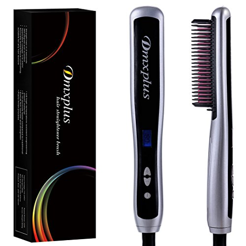 - Electric Hair Straightener Straightening Brush From Dmxplus Fastest Ceramic Comb Heating Styling And Safest Anti-scald Design,Adjustable Temperature Hot-hair Brush,LCD Display,Hair Care Gift (Silver)