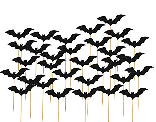 Cupcake Topper Picks Cake Decoration Supplies for Halloween Party Birthday Wedding Anniversary Luau Bench Party Babyshower Party (Black Bat,30Pcs)