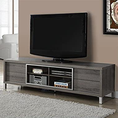 Monarch Specialties Dark Taupe Reclaimed-Look Euro TV Console, 70-Inch