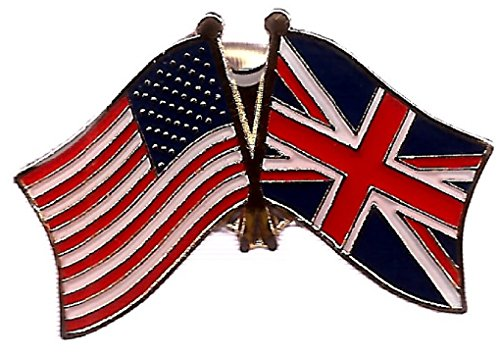 (Pack of 3 United Kingdom & US Crossed Double Flag Lapel Pins, British & American Friendship Pin Badge)