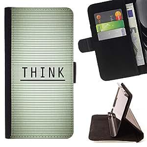 KingStore / Leather Etui en cuir / Samsung Galaxy Core Prime / PIENSA - MENSAJE TIPOGRAFÍA