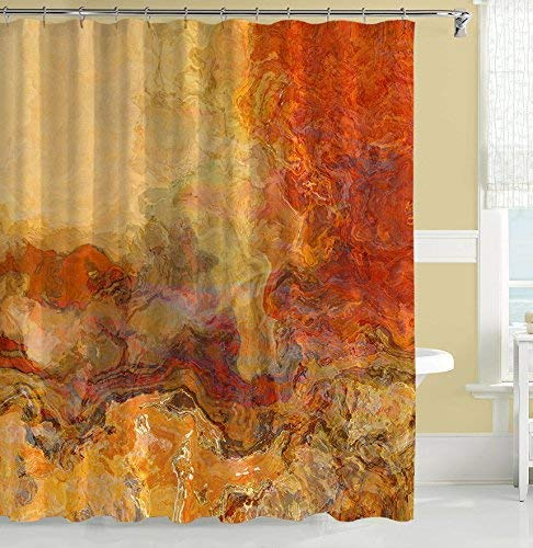 Abstract art shower curtain in red-orange, brown and cream, Magma by Abstract Art Home (Image #2)