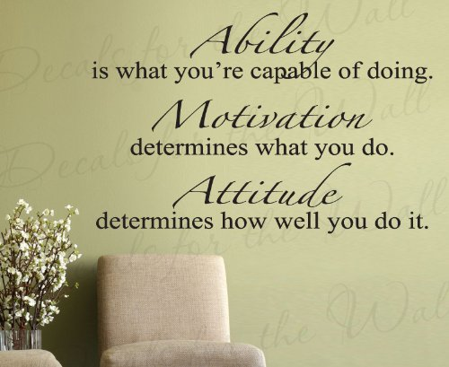 Ability Is What Youu0027re Capable Of Doing Motivation Attitude   Inspirational  Motivational Inspiring   Vinyl Wall Decal Decoration, Quote Lettering  Decor, ...