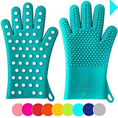 New For Fall: Heavy-Duty Women's Silicone Oven Mitts | Designed in Italy For Her, 2 Sizes Available | Great Christmas Gift for Mom | Heat Resistant Gloves For Cooking & Barbecue (1 Pair M/L, Teal)