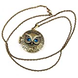 iSaddle® Antiqued Vintage Owl Locket Long Pendant Necklace with Blue Zircon Eye